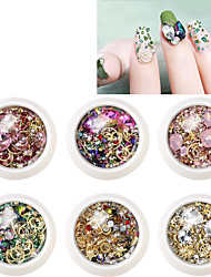cheap -6 pcs Crystal / Jewel Covered Cases / 3D Interface Crystal Pearls Rhinestones For Finger Nail Jewelry Series Creative nail art Manicure Pedicure Christmas / Special Occasion / Halloween Sweet