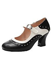 cheap -Women's Heels Chunky Heel Closed Toe PU(Polyurethane) Spring &  Fall Black / Brown