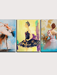 cheap -Print Rolled Canvas Prints Stretched Canvas Prints - Abstract People Classic Modern Three Panels Art Prints