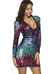 cheap -Diva Disco 1980s Dress Women's Sequins Costume Rainbow Vintage Cosplay Party Prom Long Sleeve Above Knee Sheath / Column