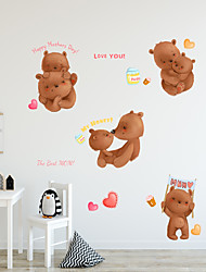 cheap -Cartoon Warm Animals Wall Stickers - Words &ampampamp Quotes Wall Stickers Characters Study Room / Office / Dining Room / Kitchen