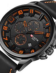 cheap -Men's Dress Watch Quartz Stylish Leather Black Water Resistant / Waterproof Calendar / date / day New Design Analog Fashion - Orange Red Green