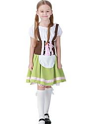 cheap -Oktoberfest Beer Dirndl Trachtenkleider Women's Girls' Dress Bavarian Costume Green