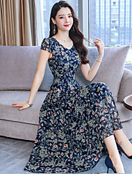 cheap -Women's Maxi Black Dress Swing Floral V Neck Print M L
