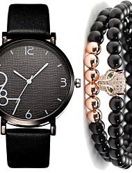 cheap -Men's Dress Watch Quartz Leather Black / White / Brown No Chronograph Cute Creative Analog New Arrival Fashion - Black Gray Brown One Year Battery Life