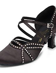 cheap -Women's Modern Shoes / Ballroom Shoes Satin Cross Strap Heel Rhinestone / Crystal / Rhinestone Cuban Heel Customizable Dance Shoes Black / Performance