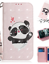 cheap -Phone Case For Asus Full Body Case Leather Wallet Card ASUS Zenfone max M1 ZB555KL Wallet Card Holder with Stand Cartoon 3D Cartoon Animal PU Leather