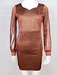 cheap -Women's Plus Size Slim Bodycon Dress V Neck Cotton Blushing Pink Light Green Fuchsia XXL XXXL XXXXL