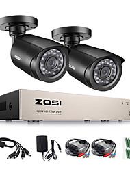 Недорогие -ZOSCH 8CH DVR CCTV Система 8CH 1.0MP ик-наружная камера видеонаблюдения 720P HDMI Tvi CCTV DVR 1200TVL Комплект для наблюдения