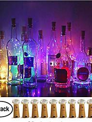 abordables -10pcs 1m guirlande de bouteilles de vin 10 leds smd 0603 chaud blanc / blanc / bleu étanche / mariage / noël décoration batteries jour alimenté