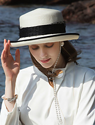 cheap -Polyester Straw Hats with Pearls 1pc Casual / Daily Wear Headpiece