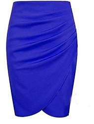 Недорогие -Жен. Облегающий силуэт Подол Однотонный Рюши Оранжевый Синий Черный S M L / Тонкие