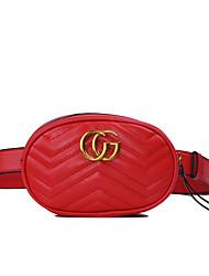 Недорогие -Жен. PU Поясная сумка Сплошной цвет Черный / Розовый / Красный