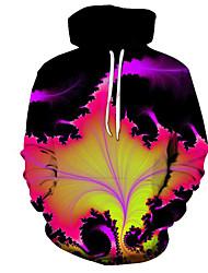 Недорогие -Муж. Большие размеры Толстовка Деревья / листья / Контрастных цветов / 3D Капюшон Для вечеринки / Для офиса Цвет радуги US32 / UK32 / EU40 US34 / UK34 / EU42 US36 / UK36 / EU44 US38 / UK38 / EU46