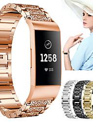 Недорогие -ремешок для часов для fitbit заряд 3 дизайн ювелирных изделий fitbit / современная пряжка / спортивный ремешок из нержавеющей стали