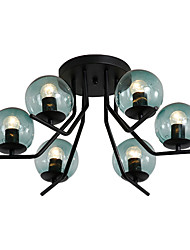 cheap -6-Light Sputnik Flush Mount Lights Ambient Light Painted Finishes Metal Ceiling Lamp 6 Lights Chandelier Globe Glass Shade Simple Pendant Lighting Black