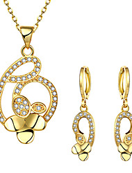 cheap -Women's Cubic Zirconia Bridal Jewelry Sets Geometrical Flower Shape Stylish Gold Plated Earrings Jewelry Gold For Party Daily 1 set