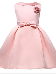 cheap -Princess Knee Length Flower Girl Dress - Polyester Sleeveless Jewel Neck with Appliques / Bow(s)