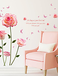 cheap -Pink Romantic Flower Wall Stickers - Plane Wall Stickers Floral / Botanical / Landscape Study Room / Office / Dining Room / Kitchen