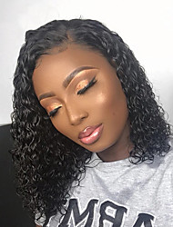 cheap -Remy Human Hair Full Lace Lace Front Wig Side Part style Brazilian Hair Afro Curly Black Wig 130% 150% 180% Density Life Women Adorable Hot Sale Comfortable Women's Short Human Hair Lace Wig Factory
