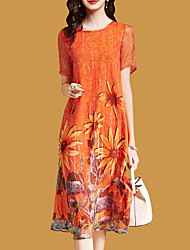 cheap -Women's Orange Dress Casual Going out Shift Floral Print Print M L / Belt Not Included