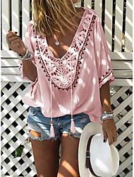 abordables -Tee-shirt Femme, Couleur Pleine Col en V Rose Claire