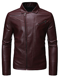 cheap -Men's Daily / Holiday / Going out Basic / Street chic Spring &  Fall Regular Leather Jacket, Solid Colored Turndown Long Sleeve PU / Polyester Black / Wine / Khaki