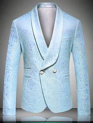 cheap -Men's Party / Work Basic Fall & Winter Long Jacket, Plants Shawl Lapel Long Sleeve Rayon / Polyester / Lambskin Blue