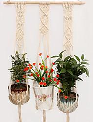 cheap -Macrame Plant Hanger Indoor Outdoor Hand Knit Hanging Planter Wood Stick Basket Wall Art