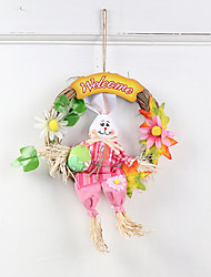 cheap -Kids Cartoon Rabbit Wreath Hanger for Easter Party Door Decor