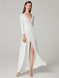 cheap -A-Line Plunging Neck Floor Length Milk Fiber Elegant & Luxurious / Elegant Formal Evening Dress with Split Front 2020