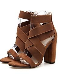 cheap -Women's Heels Chunky Heel Peep Toe PU(Polyurethane) Summer Black / Brown
