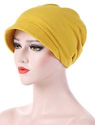 Недорогие -Yiwu pby_07no Модная шестиугольная шапка из хлопка с теплым ветрозащитным шлемом сплошного цвета с краями yellow_m (56-58см)