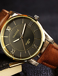 cheap -Dress Watch Leather Analog Black disk brown belt White plate black belt / Stainless Steel