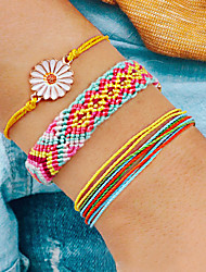 cheap -3pcs Women's Wrap Bracelet Vintage Bracelet Earrings / Bracelet Layered Flower Simple Classic Vintage Fashion Cute Cord Bracelet Jewelry Blue / Pink For Daily School Street Holiday Festival