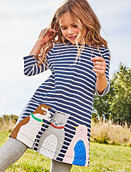 cheap -Kids Toddler Girls' Basic Cute Striped Animal Cartoon Embroidered Print Long Sleeve Above Knee Dress Blue / Cotton