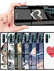 Недорогие -Кейс для Назначение Huawei Huawei P20 / Huawei P20 Pro / Huawei P20 lite Защита от удара / С узором Кейс на заднюю панель С сердцем / Цвет неба / Цветы Твердый ТПУ / Закаленное стекло