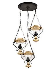 Недорогие -Кластерная люстра Стеклянная абажурная 3 лампы Потолочные светильники Фойе Прихожая Pendnat Светильник Даунлайт Окрашенные отделки металл