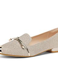 cheap -Women's Flats Flat Heel Pointed Toe Synthetics Sweet / British Fall / Spring & Summer Black / Gold