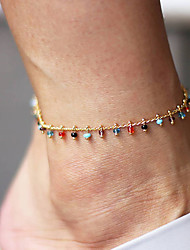 cheap -Ankle Bracelet Simple Fashion Colorful Women's Body Jewelry For Gift Daily Beads Glass Alloy Gold 1pc
