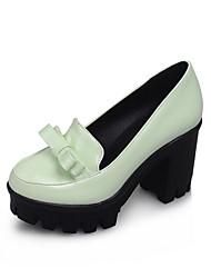 cheap -Women's Heels Chunky Heel Round Toe Bowknot PU(Polyurethane) Spring &  Fall White / Black / Blue