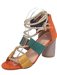 cheap -Women's Sandals Chunky Heel Peep Toe Buckle PU(Polyurethane) Spring &  Fall Green / Orange / Black / White / Color Block