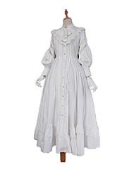 cheap -Traditional / Vintage Vintage Gothic Lolita Dress Cotton Japanese Cosplay Costumes White / Black Solid Color Vintage Lace Juliet Sleeve Long Length
