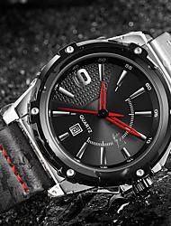 cheap -ASJ Men's Dress Watch Japanese Japanese Quartz Genuine Leather Black 100 m Water Resistant / Waterproof Calendar / date / day Analog Classic Casual Fashion - Black Silver / Black One Year Battery Life
