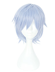 cheap -Synthetic Wig Curly Asymmetrical Wig Short Light Blue Synthetic Hair 10 inch Men's Party Blue