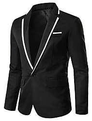 cheap -Men's Jacket Party Daily Active Regular Solid Colored White / Black / Blue XS / US32 / UK32 / EU40 / S / US34 / UK34 / EU42 / M / US36 / UK36 / EU44