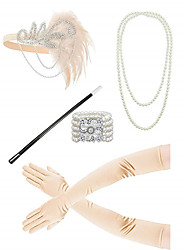cheap -The Great Gatsby Headbands Pearl Necklace 1920s Alloy Outfits For Prom Party / Cocktail Women's Costume Jewelry Fashion Jewelry / Gloves / Gloves