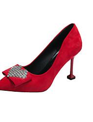 cheap -Women's Heels Pumps Kitten Heel Rhinestone PU Casual Spring Black / Red / Daily