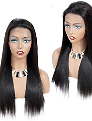 cheap -Human Hair Wig Medium Length Straight Side Part Party Women Best Quality Silk Top Lace Front Lace Front Brazilian Hair Women's Black#1B 10 inch 12 inch 14 inch