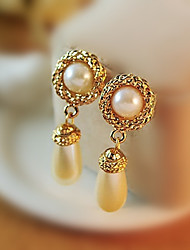 cheap -Women's Drop Earrings Hollow Out Drop Sweet Fashion Imitation Pearl Earrings Jewelry Gold For Daily Work 1 Pair